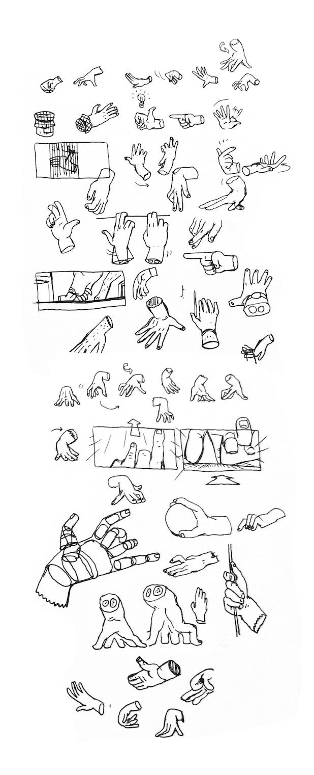 I Lost My Body hand sketches