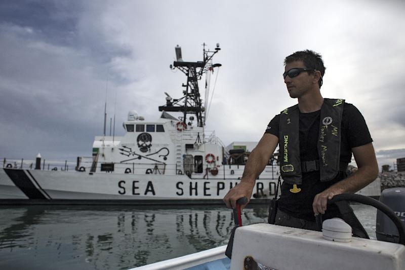 """The Sea Shepherd vesselM/V Farley Mowat has been operating in the Gulf of Mexico since 2018 as part of operation """"Milagro IV"""" to save the critically endangered vaquita porpoise (AFP Photo/GUILLERMO ARIAS)"""