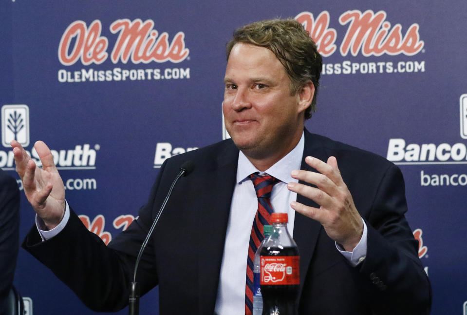 Lane Kiffin is entering his first season as the head coach at Ole Miss. (AP Photo/Rogelio V. Solis)