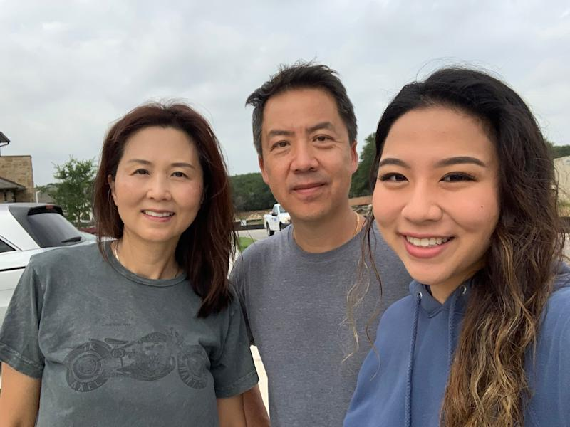 Song with her parents in their Austin, Texas neighborhood. Angelica Song