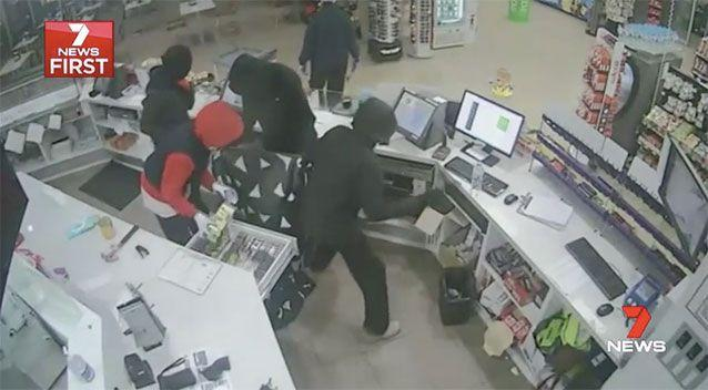 The violent robbery occurred at 3.30 Sunday morning at the Rockbank BP, in Melbourne's north-west. Picture: 7 News