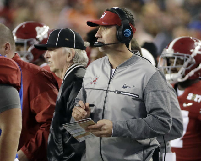 FILE - In this Jan. 9, 2017, file photo, Alabama offensive coordinator Steve Sarkisian is seen on the sidelines during the second half of the NCAA college football playoff championship game against Clemson, in Tampa, Fla. There was plenty of coaching turnover in the Southeastern Conference this offseason. It just didnt involve the guys in charge. (AP Photo/David J. Phillip, File)