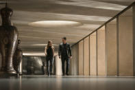 """This image released by Paramount Plus shows Sophie Cookson, left, and Mark Wahlberg in a scene from """"Infinite."""" (Peter Mountain/Paramount+ via AP)"""