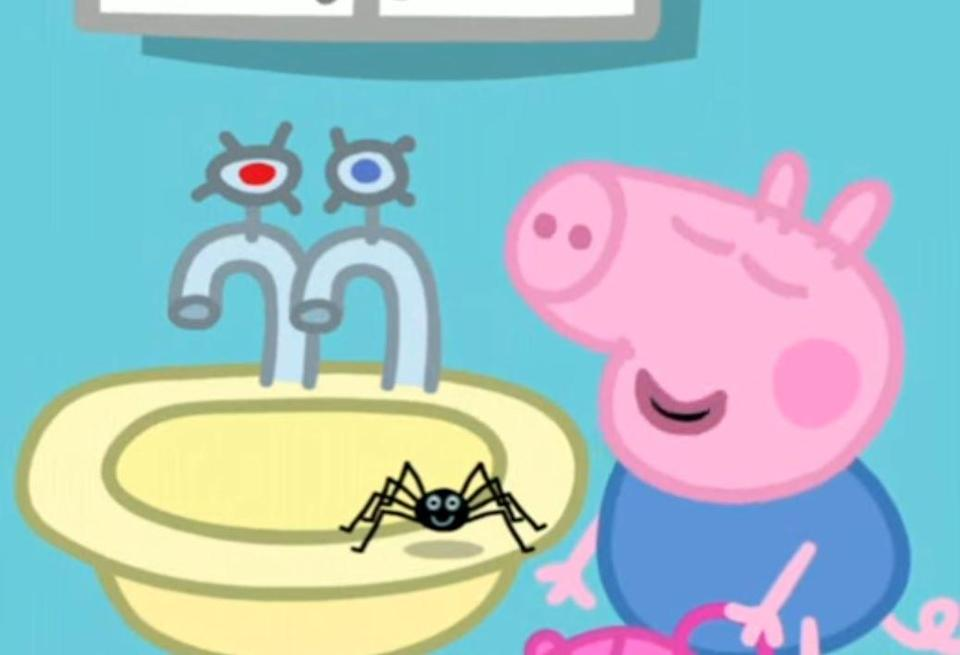 """Peppa Pig is told the the episode the spider """"can't hurt you"""""""