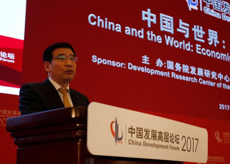 Miao Wei, head of China's Ministry of Industry and Information Technology, speaks at the China Development Forum in Beijing