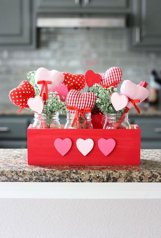 "<p>Fresh flowers are beautiful — but they just don't last. Instead, give a gift of homemade plush hearts that will endure, like a long, lingering hug for the ones you love. Finish the rustic look with a wood planter box and mason jars. </p><p><em><a href=""https://designimprovised.com/2018/01/diy-valentine-heart-bouquet.html"" rel=""nofollow noopener"" target=""_blank"" data-ylk=""slk:Get the how-to at Design Improvised»"" class=""link rapid-noclick-resp"">Get the how-to at Design Improvised»</a></em><br></p>"