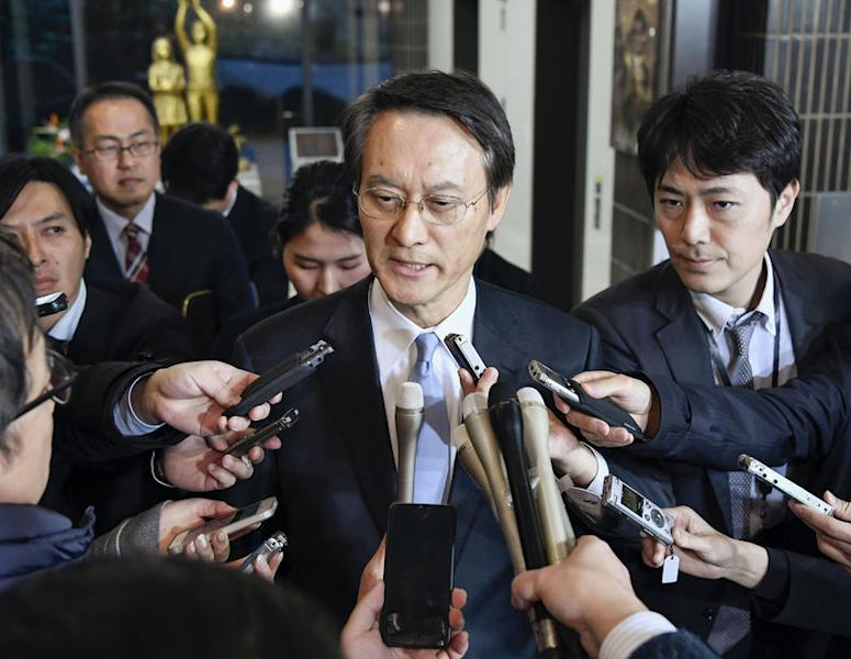 South Korean Ambassador to Japan Lee Su-hoon is surrounded by media after a meeting with Japanese Vice Minister for Foreign Affairs Takeo Akiba (not in picture) at the Foreign Ministry in Tokyo, Japan, in this photo taken by Kyodo January 9, 2019. Mandatory credit Kyodo/via REUTERS