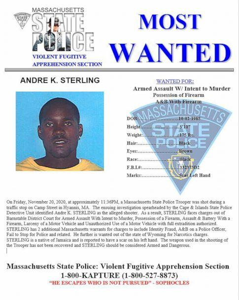 PHOTO: This poster, from the Massachusetts State Police, posted Nov. 24, 2020, shows Andre K. Sterling. Sterling, a suspect in the shooting of a state trooper in Massachusetts, was killed during a shootout with U.S. marshals in New York, Dec. 4, 2020. (Massachusetts State Police via AP)