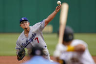 Los Angeles Dodgers starting pitcher Julio Urias (7) delivers during the first inning of a baseball game against the Pittsburgh Pirates in Pittsburgh, Thursday, June 10, 2021. (AP Photo/Gene J. Puskar)