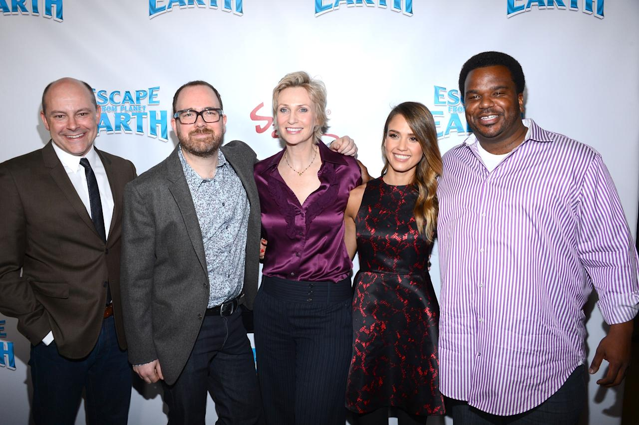 LOS ANGELES, CA - FEBRUARY 02:  (L-R) Actor Rob Corddry, director Cal Brunker, and actors Jane Lynch, Jessica Alba and Craig Robinson attend the premiere of the Weinstein Company's 'Escape From Planet Earth' held at the Mann Chinese 6 on February 2, 2013 in Los Angeles, California.  (Photo by Mark Davis/Getty Images)