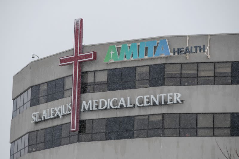 A general view of the St. Alexius Medical Center, where confirmed coronavirus patient is being treated in Hoffman Estates