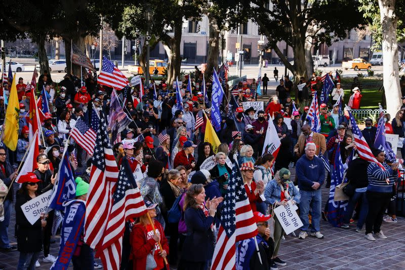 Supporters of U.S. President Donald Trump protest in Los Angeles