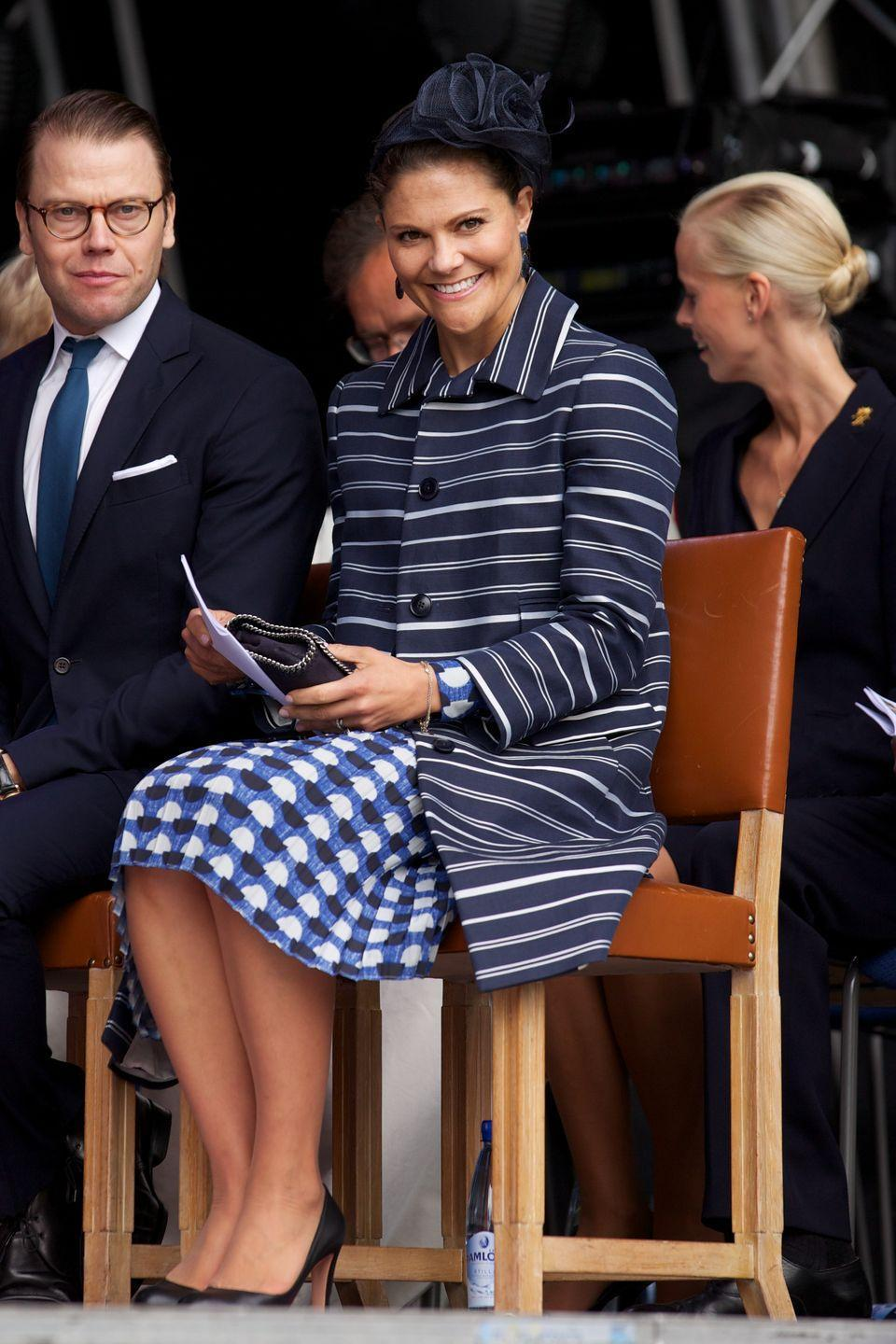 <p>Once Princess Victoria takes the throne, she'll be the first woman to do so in Sweden since the 1700s—and she'll do so in style. Here she is mixing prints for a reserved yet stylish look.</p>