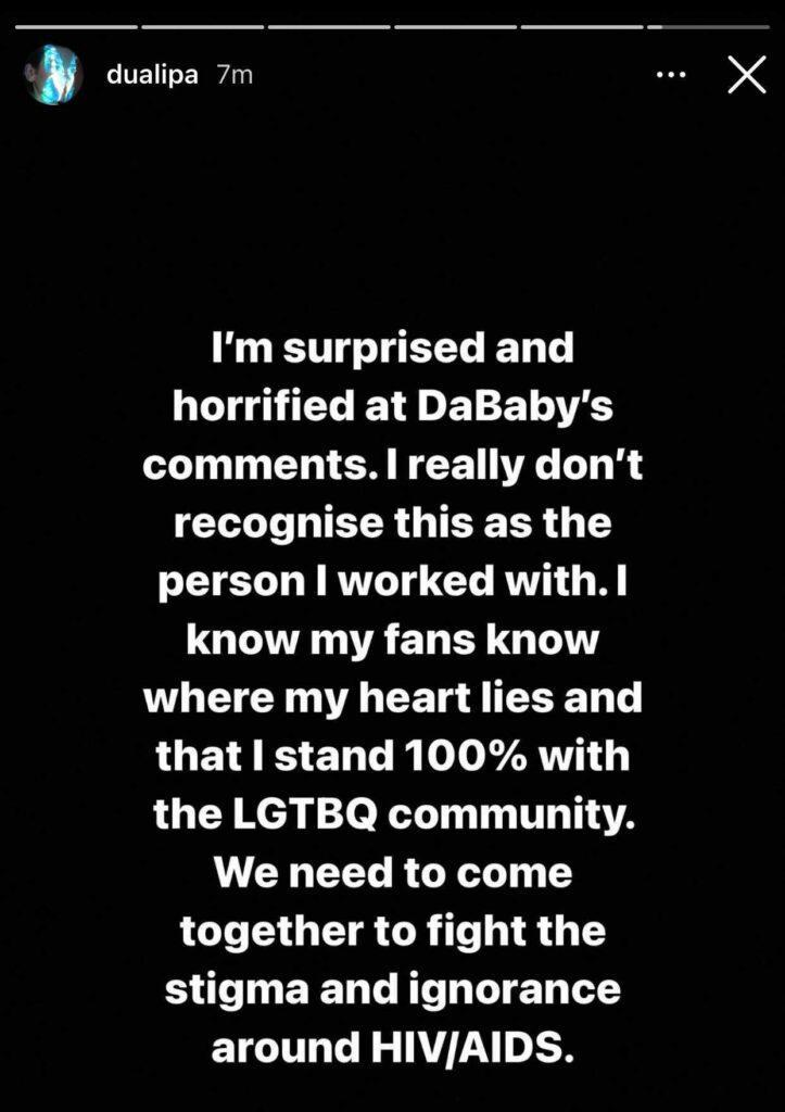 Dua Lipa, who collaborated with DaBaby for a 2020 remix of 'Levitating', says she no longer 'recognises' him. (Screen capture via Instagram)