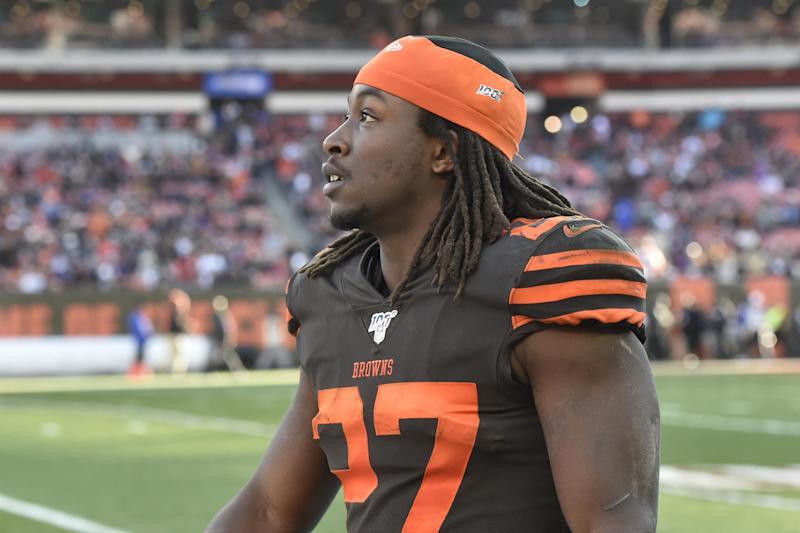 Cleveland Browns running back Kareem Hunt walks on the field during an NFL football game against the Baltimore Ravens, Sunday, Dec. 22, 2019, in Cleveland. The Ravens won 31-15. (AP Photo/David Richard)