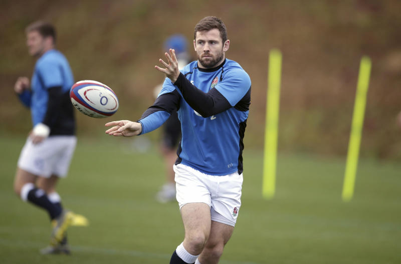 England's Elliot Daly during a rugby training session in Bagshot, England, Saturday Feb. 9, 2019. England will play France, in the Six Nations Championship competition at London's Twickenham Stadium on Sunday. (Adam Davy/PA via AP)