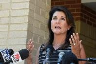Former South Carolina Gov. Nikki Haley speaks with reporters after a campus tour of South Carolina State University on Monday, April 12, 2021, in Orangeburg, S.C. Haley, often mentioned as a possible 2024 GOP presidential contender, said Monday that she would not seek her party's nomination if former President Donald Trump opts to run a second time. (AP Photo/Meg Kinnard)