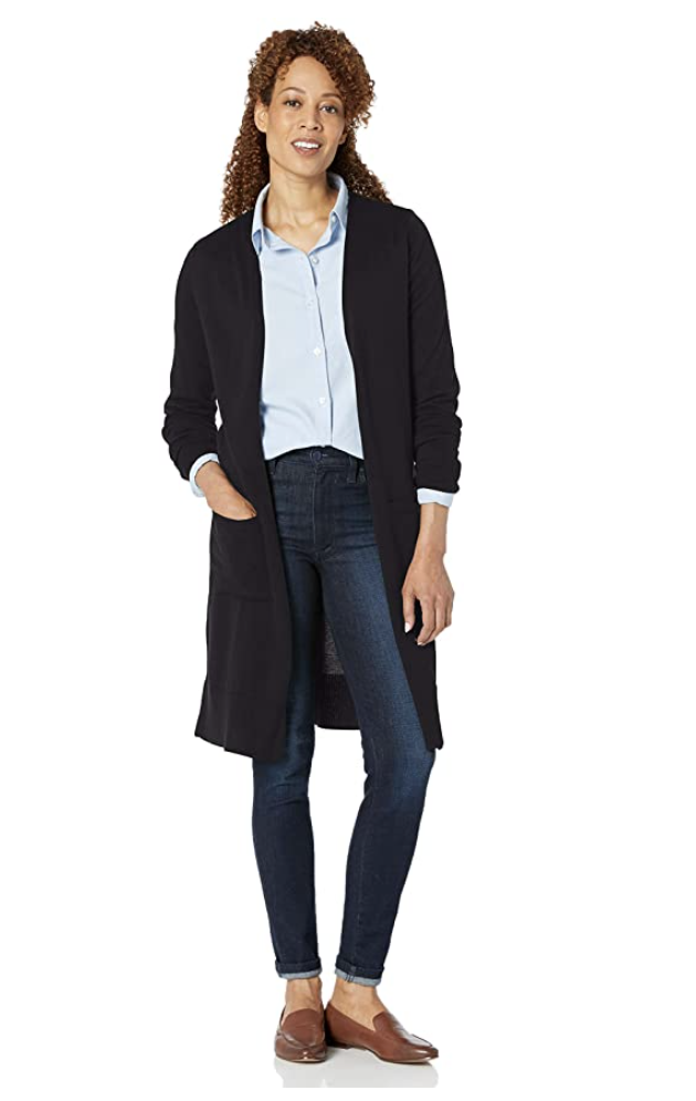 black model with curly hair wearing Amazon Essentials Women's Lightweight Longer Length Cardigan in Black