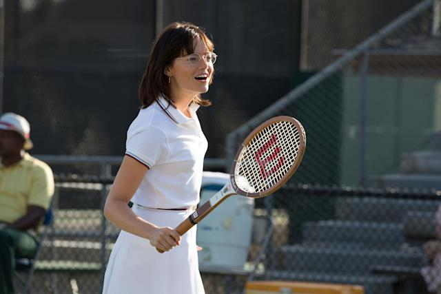 """The last person to score consecutive Best Actress trophies wasKatharine Hepburn, way back in 1968 and '69. Emma Stone won earlier this year for """"La La Land,"""" which dampens her odds for """"Battle of the Sexes,"""" in which she gracefully portrays tennis champ Billie Jean King. The movie hasn't seen the runaway box-office success needed to galvanize it beyond its pleasant-at-best reviews.At the Toronto Film Festival, where the movie screened in September, a publicist told meStone isn't itching tomount another grueling awards crusade.It's possible she'll wrest support on name alone, though, given her incredible charm."""