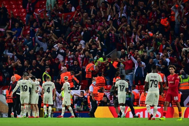 AC Milan were beaten at Anfield but now return to domestic matters with a trip to Juventus (AFP/Paul ELLIS)