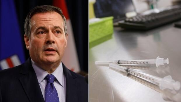 Knowing that demand for first doses would wane, Kenney said Monday the Alberta government had been looking at creative solutions, finally landing on the lottery modelled aftersimilar draws elsewhere in North America. (Jason Franson, John Woods/The Canadian Press - image credit)