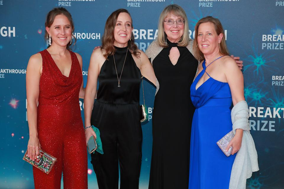From left to right: Anne Wojcicki, Janet Wojcicki, Esther Wojcicki and Susan Wojcicki attend the 8th Annual Breakthrough Prize Ceremony at NASA Ames Research Center on 3 November 2019 in Mountain View, California, Us. Photo: Rich Fury/Getty Images