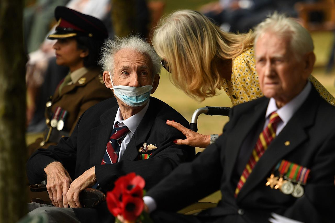 Veterans arrive to attend a national service of remembrance at the National Memorial Arboretum in Alrewas, central England on August 15, 2020, to mark the 75th anniversary of VJ (Victory over Japan) Day. (Photo by Oli SCARFF / POOL / AFP) (Photo by OLI SCARFF/POOL/AFP via Getty Images)