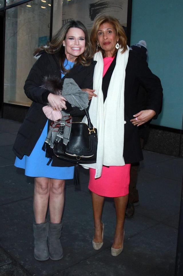 Savannah Guthrie and Hoda Kotb pose for a photo in New York City on Jan. 2. (Photo: MediaPunch/Bauer-Griffin/GC Images)