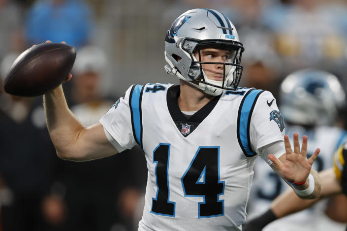 Carolina Panthers quarterback Sam Darnold passes against the Pittsburgh Steelers during the first half of a preseason NFL football game Friday, Aug. 27, 2021, in Charlotte, N.C. (AP Photo/Nell Redmond)