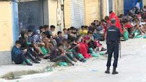 Young migrants tested for Covid in Spain's Ceuta