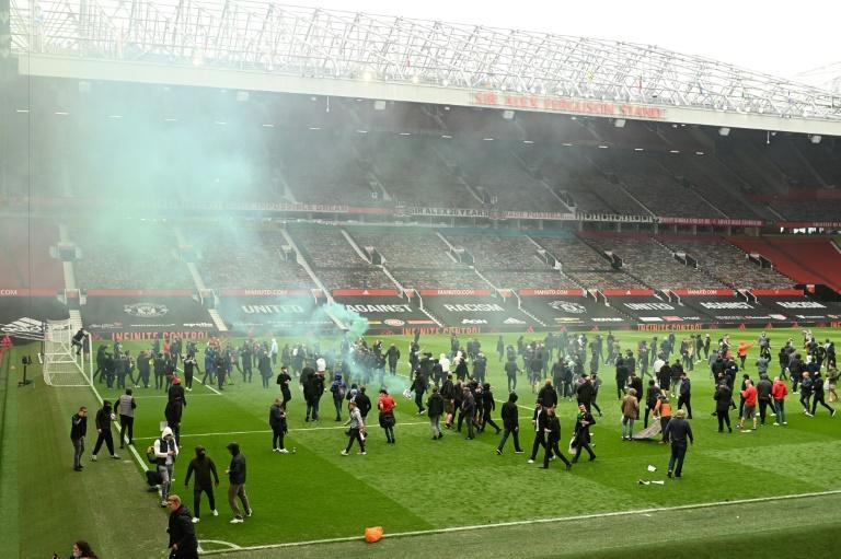 Supporters protest against Manchester United's owners at Old Trafford