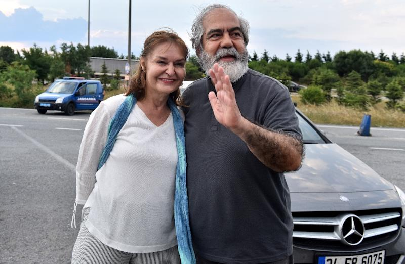 Turkish journalist Mehmet Altan, released after being held for almost two years in the Silivri prison near Istanbul in a case that intensified concerns about press freedom, poses with his wife Umit Altan