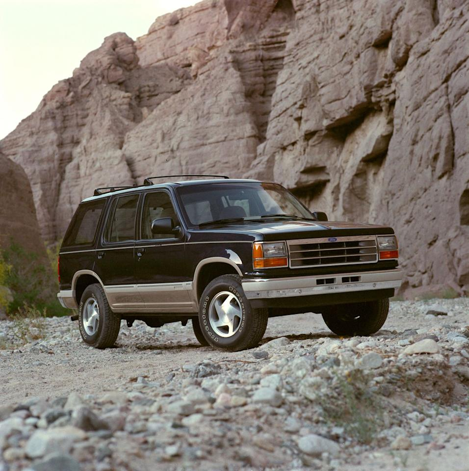 "<p>For the 1991 model year, Ford replaces the unloved Bronco II <a rel=""nofollow"" href=""https://www.caranddriver.com/archives/1990-ford-explorer-xlt-archived-long-term-road-test"">with the Explorer</a>. The new SUV borrows much of its underpinnings from the Bronco II, including its suspension, but is offered in both two- and four-door configurations (its predecessor was two-door-only). Ford touts the Explorer's relentlessly rectilinear body shape as ""aerodynamic"" in its press materials and boasts of the truck's ""low"" 0.43 coefficient of drag. For comparison a modern Mercedes-Benz A-class has a 0.22 cD.</p>"