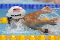 Hali Flickinger, of United States, swims in a heat for the women's 400-meter Individual medley at the 2020 Summer Olympics, Saturday, July 24, 2021, in Tokyo, Japan. (AP Photo/Martin Meissner)