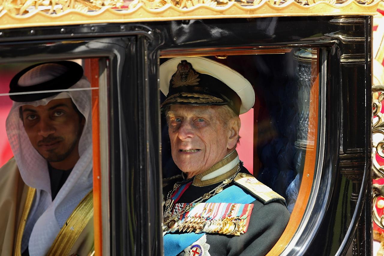 WINDSOR, ENGLAND - APRIL 30: Prince Philip, the Duke of Edinburgh leaves in a carriage after greeting The President of the United Arab Emirates, His Highness Sheikh Khalifa bin Zayed Al Nahyan on the Royal Dais on April 30, 2013 in Windsor, England. President Sheikh Khalifa begins a State visit to the UK today, the first for a UEA President in 24 years. Sheikh Khalifa will meet the British Prime Minister David Cameron tomorrow at his Downing Street residence.  (Photo by Dan Kitwood/Getty Images)