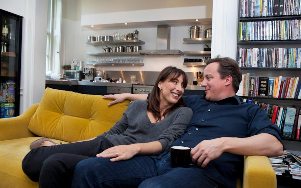 The Camerons at their apartment above 11 Downing Street - Premium Archive