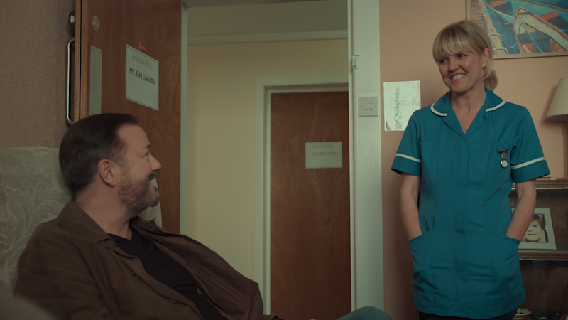 Ricky Gervais and Ashley Jensen in a still from After Life S2. (Netflix)