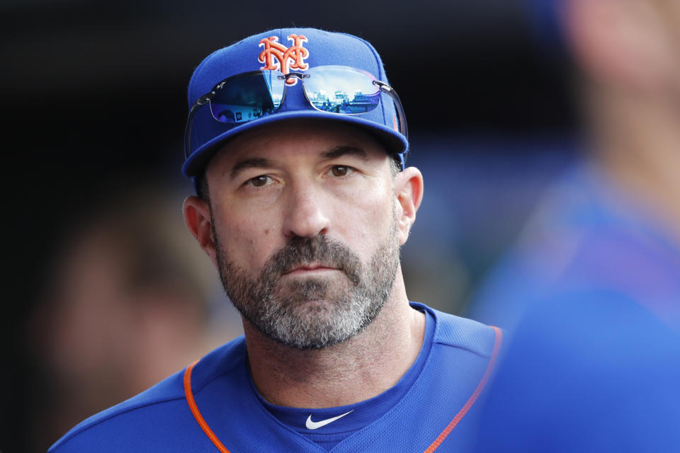 New York Mets manager Mickey Callaway looks out from the dugout during a baseball game against the Atlanta Braves, Sunday, Sept. 29, 2019, in New York. (AP Photo/Kathy Willens)