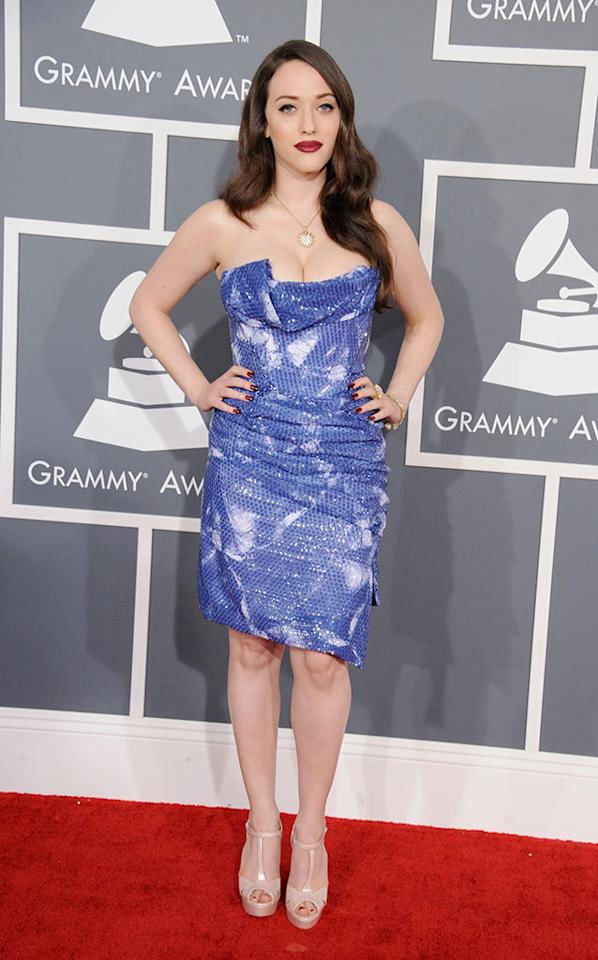 Kat Dennings arrives at the 55th Annual Grammy Awards at the Staples Center in Los Angeles, CA on February 10, 2013.