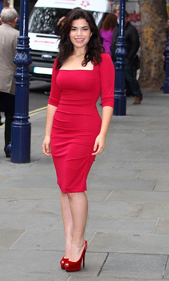 """Across the pond, America Ferrera was also looking ravishing in red. The former """"Ugly Betty"""" star was snapped showing off curvaceous physique in a form-fitting frock while promoting her upcoming debut in the West End production of """"Chicago"""" as Roxie Hart. Va-va-va-voom! (10/31/2011)"""
