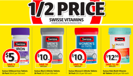 Swisse vitamin supplements selling for half-price at Coles.