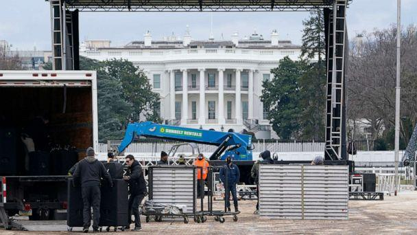 PHOTO: A stage is set up on the Ellipse near the White House in Washington, Jan. 4, 2021, in preparation for a rally on Jan. 6, the day when Congress is scheduled to meet to formally finalize the presidential election results. (Susan Walsh/AP)