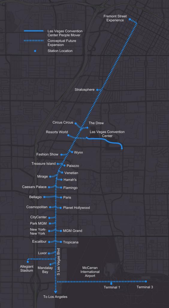 The proposed route of the Vegas Loop could transport passengers from the airport to the Strip at speeds of up to 155mph (Vegas Loop)