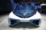 A Toyota Motor Corp's hydrogen fuel-cell concept car Toyota FCV PLUS is displayed during the Auto China 2016 auto show in Beijing