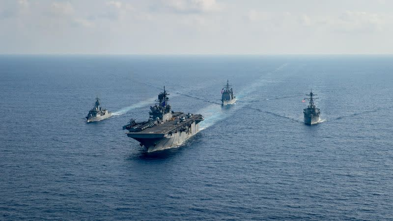 FILE PHOTO: U.S. Navy and Royal Australian Navy team up in the South China Sea