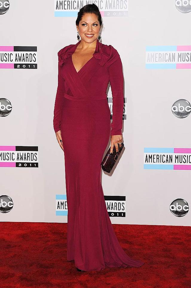 """Grey's Anatomy"" actress Sara Ramirez arrives at the 2011 American Music Awards held at the Nokia Theatre L.A. LIVE. (11/20/2011)"