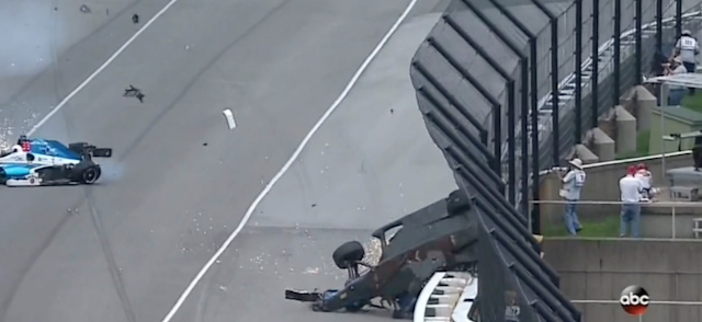 How Dixon's car landed on the wall.