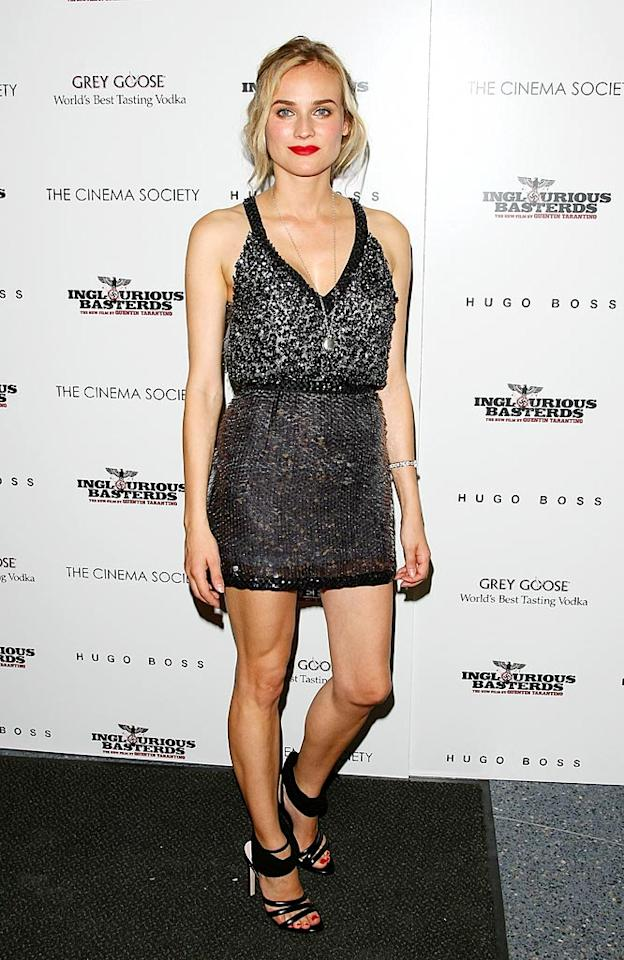 """The previous night, Diane once again nailed it in an embellished Miu Miu mini, super sexy heels, cherry red lips, and matching toenails at the New York premiere of her film """"Inglourious Basterds."""" Andrew H. Walker/<a href=""""http://www.gettyimages.com/"""" target=""""new"""">GettyImages.com</a> - August 17, 2009"""