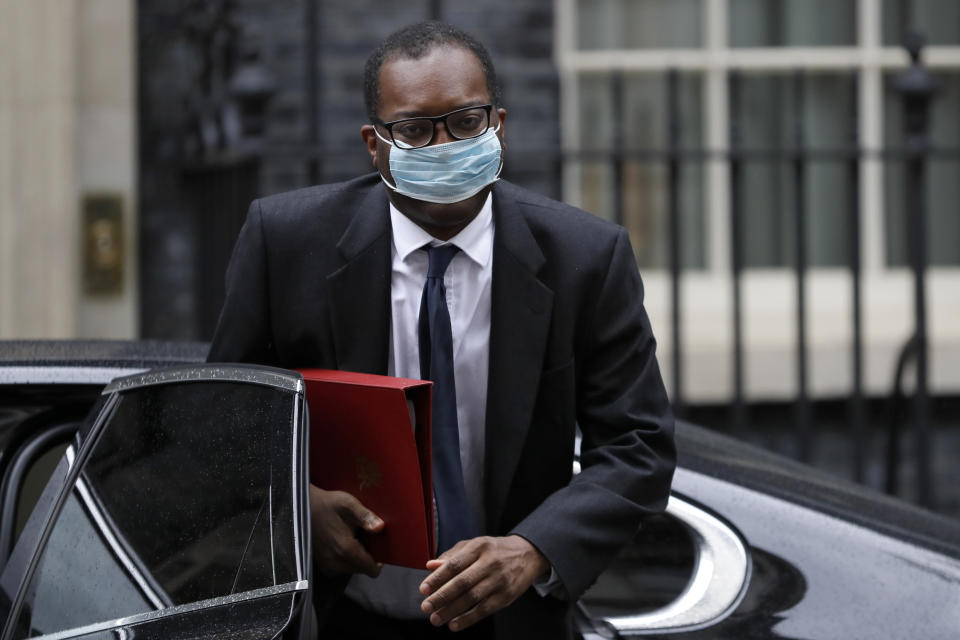 Kwasi Kwarteng, Britain's Minister of State for Business, Energy and Clean Growth, arrives in Downing Street in London, Wednesday, Sept. 30, 2020. (AP Photo/Kirsty Wigglesworth)