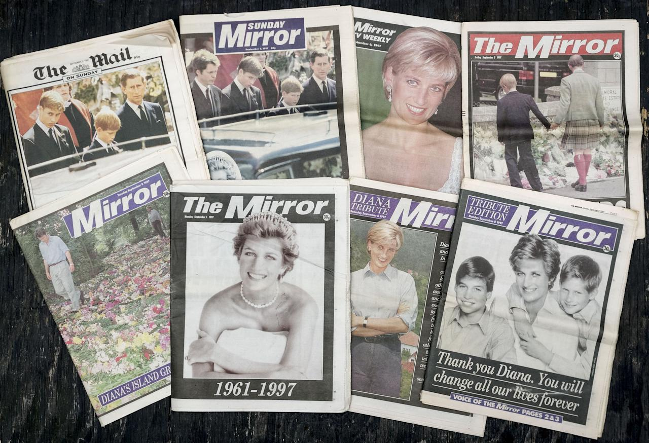 <p>The UK national press were united in shock and mourning in the days after Diana's death. (Rex) </p>